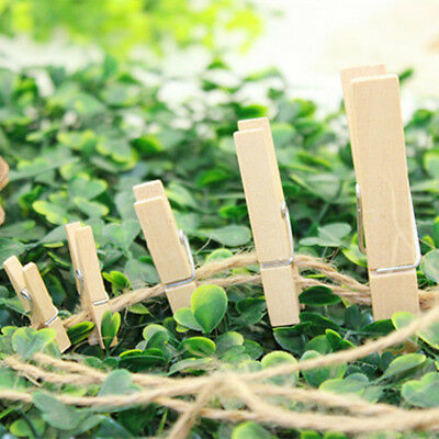 100pcs 2Sizes Wood Wooden Photo Clips Paper Clothespin Clothes Pin Pegs Craft