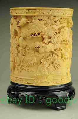 "China Boxwood pure Hand-Carved Eight Immortals brush pot pencil vase""八仙过海"""