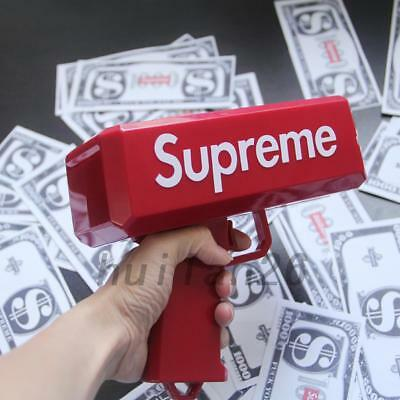 Red Supreme Cash Cannon Money Launch Gun Toy In Box Toys Gift +100 Custom Bills
