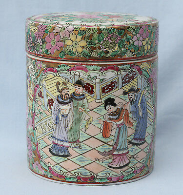 Old Chinese Canton Famille Rose Porcelain Box / Jar & Cover