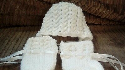 hand knitted baby bonnet sets