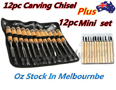 12Pc Wood Carving Chisel Set With 12Pc Mini Carving Chisels 6Pc Mini Carving Kit
