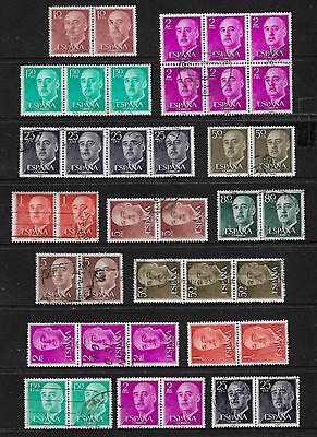 SPAIN - mixed collection, joined block strips pairs No.2, General Franco