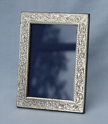 Sterling Silver Photograph Frame - Italian 925 - Engraved Pattern