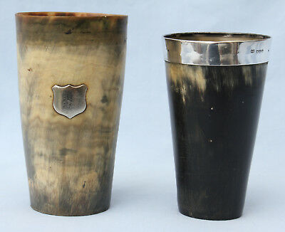 2 Antique Silver & Cow Horn Beakers - Chester 1908