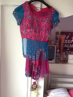 Brand New Indian Pakistani Stunning Turquoise & Pink Lengha Outfit Bollywood