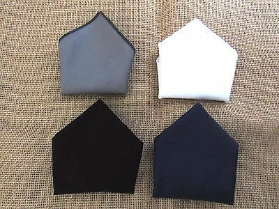 pocket square handkerchief SET OF 4 cotton white black, grey, navy .IDEAL GIFT