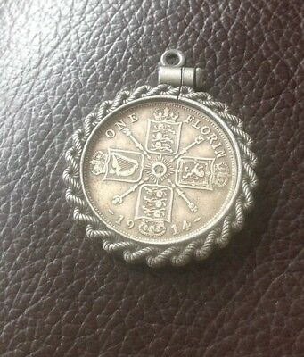 Vintage Silver Style Screw Top 1914 Florin Coin Rope Pendant Mount Fob Charm C5