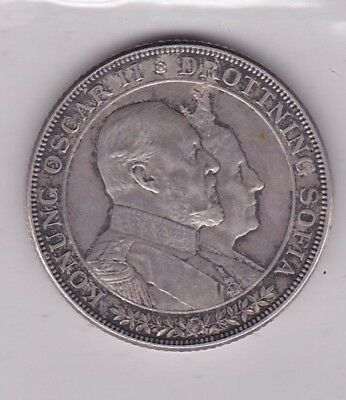 1907 Sweden Two Kroner In Near Extremely Fine Condition