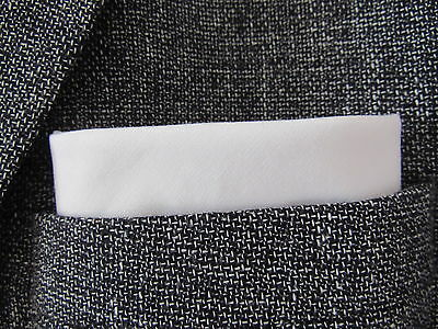 white  pocket square handkerchief  hanky white cotton mod style. unisex wedding