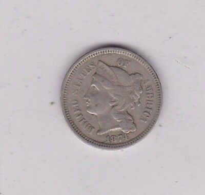 Usa 1874 Three Cent In Good Fine Or Better Condition