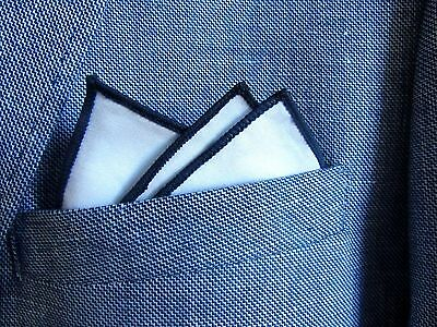 white cotton pocket square handkerchief hanky navy blue edge. unisex. mod style