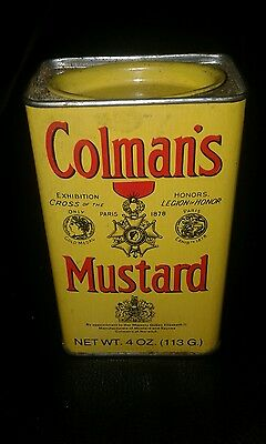Vintage Coleman's Mustard Tin Yellow Can paper label  1.4 lb. 1950s