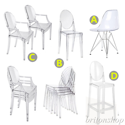 Set of 4 Ghost Clear Chairs Transparent Kitchen Dining Wedding Restaurant Chair