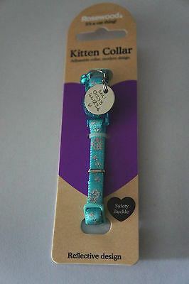 Reflective Kitten Collar With Bell And Id Tag Engraved Or Split Rings