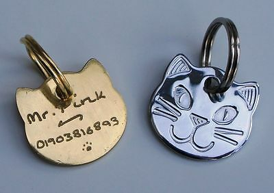 CAT ID TAG Cat Face 22mm Hand Engraved ID Pet Tags Free Engraving SILVER/BRASS