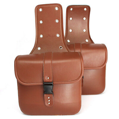 2Pcs Universal Leather Motorcycle Saddle Bags Saddlebags Side Storage Brown