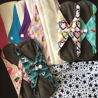 Cloth Pads Trial Pack - 8 pads medium and heavy flow plus FREE small wet bag