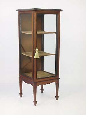 Antique Edwardian Bijouterie Display Cabinet - Mahogany Floor Standing Cupboard