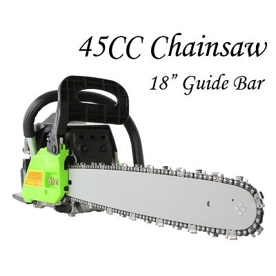 "45cc Petrol Commercial Chainsaw 18"" Guide Bar E-Start Tree Pruning Chain Saw"