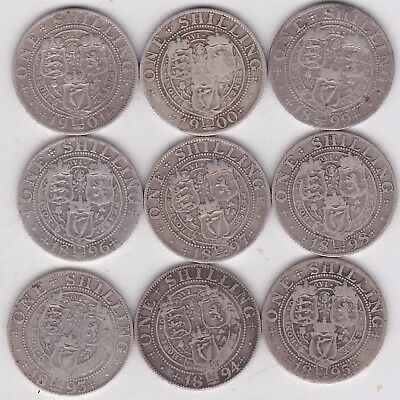 1893 To 1901 Old Head Victorian Silver Shilling Date Run In Used Fine Condition