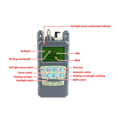 Fiber Optical Power Meter -70~+10dBm 10mw  Cable Tester Visual Fault Locator