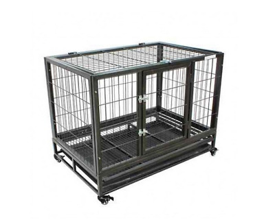 Metal Indoor Dog Pet Cage Puppy Training Crate Wheeled Outdoor Enclosure House