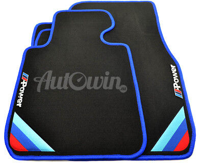 BMW Floor Mats With M Power Emblem Blue Rounds RHD TAILORED 1990-2017 UK Models