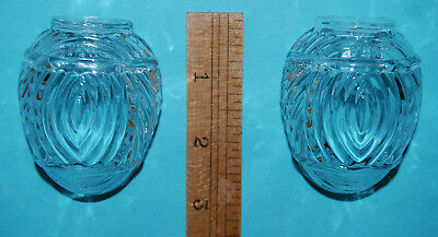 2  Vintage Matching Clear Glass Art Deco Bird Cage Water Bowl Feeders Great Cond