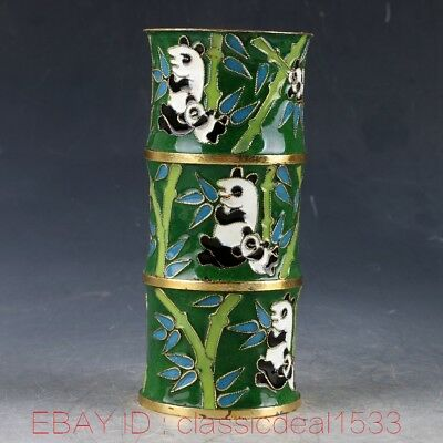 Chinese Cloisonne Handwork Carved Panda & Bamboo Brush Pot PA0755