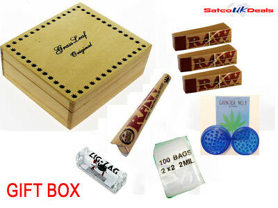 Large Wooden Box Smoking Rolling Machine Raw Tips Cone Tray Grinder Gift Set New