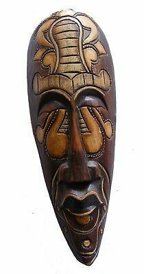 30cm Indigenous Borneo Tribal 'Long' Mask Hand Carved Wooden Mask - Fair Trade