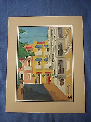 LOUIS CAJIGA FAMOUS  PUERTO RICAN SCREEN PAINTING - signed