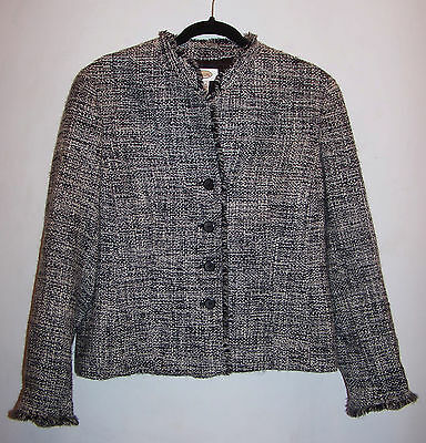 TALBOTS black, gray & white jacket 98% Wool, Size 8 Made in USA career office