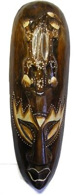 30cm Indigenous African Style Borneo Tribal Gecko Mask Hand Carved Wooden Mask -