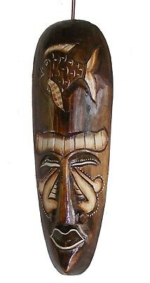 30cm Indigenous African Style Borneo Tribal Fish Mask Hand Carved Wooden Mask -