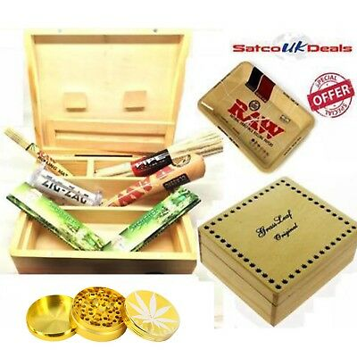 Xmas Gift Wooden Large Box Smoking Papers Pipe Grinder Machine Raw Tray Cone Mat