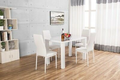 PIVERO White High Gloss Dining Table Set And 4 Leather Dining Chairs Seater
