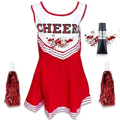 Childrens Kids Girls Zombie Cheerleader School Fancy Dress Costume Halloween