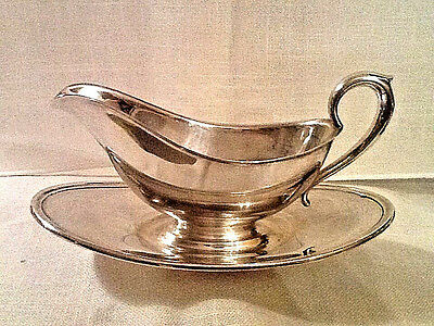 Vintage Gorham Colonial Y430 Silverplate Gravy Boat w/ Attached Underplate VGUC