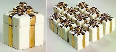 Lenox Wedding Gift Box Favor Set of 10 Memory Gold Bow Sculpted Shower Gift NEW