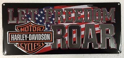 Ande Rooney HARLEY DAVIDSON LET FREEDOM ROAR HD Motorcycle Tin Sign America USA
