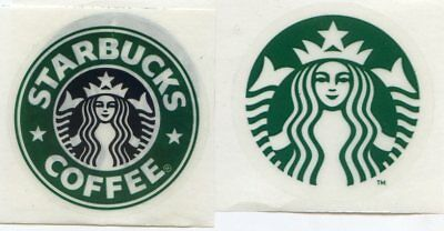 "4 Authentic Starbucks Stickers 1-1/2""  Old  & New Logo  Immediate Shipping"