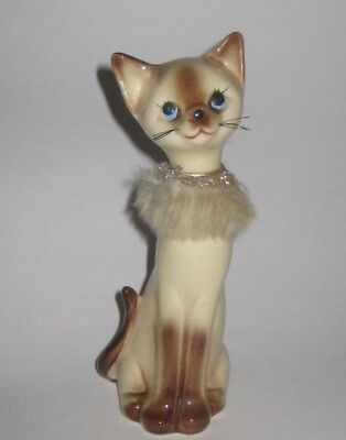 "7"" H Lady SIAMESE CAT w/Fur COLLAR Vintage JAPAN Pottery FIGURINE"