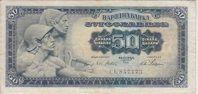 YUGOSLAVIA  BANKNOTE  P.73a-7773  50 DINARA 1965 SMALL NUMBERS  VERY FINE