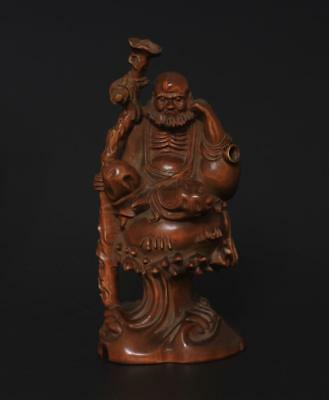 Fine Chinese Old Boxwood Hand Carved Statue-Arhat s22