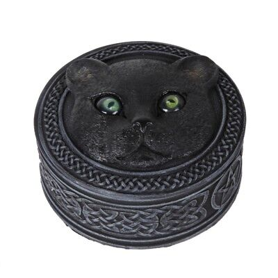 Mythical Black Cat Rolling Eyes Resin Trinket Box Collectible