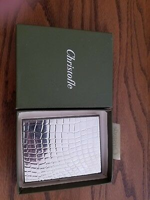 CHRISTOFLE Sterling Silver Cigarette Case Croco d'argent with box