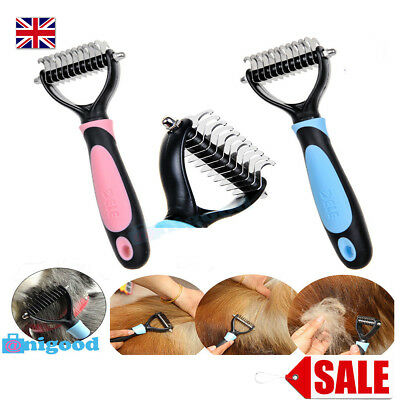 Dog Puppy Cat Pet Hair Shedding Grooming Undercoat Hair Brush Comb Rake Tool UK