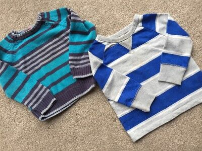 2 Baby Boys Stripey Jumpers - Age 12-18 Months Gap And Bluezoo